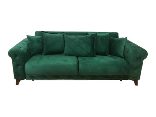 Canapea extensibilă 3 locuri, verde - model RIVA