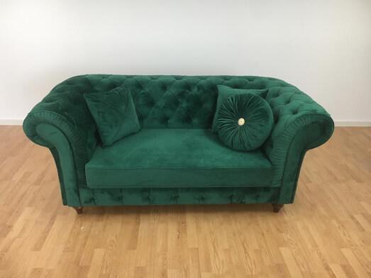 Canapea fixă 2 locuri, verde - model CHESTER