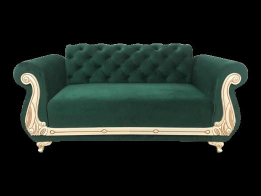 Canapea fixă 2 locuri, verde - model FANCY