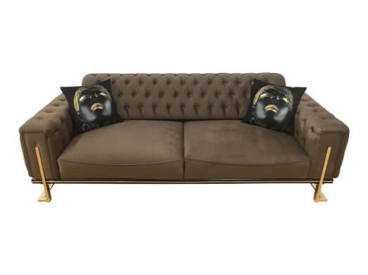 Canapea fixă 3 locuri, maro închis - model ROLEX