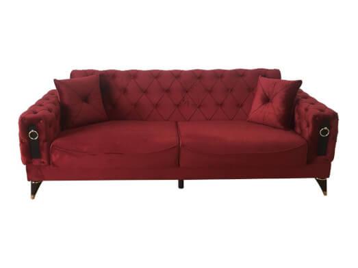 Canapea extensibilă 3 locuri, bordo - model LIZBON