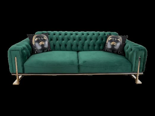 Canapea fixă 3 locuri, verde - model ROLEX