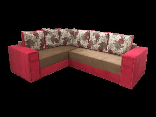 Colțar extensibil 5 locuri, maro cu roșu - model VALENCIA
