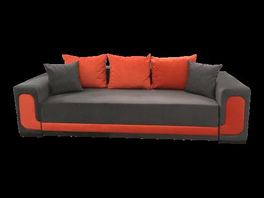 Canapea extensibila 3 locuri gri cu portocaliu - model EVA