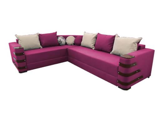 Colțar extensibil roz cu saltea relaxa și accesorii pe brațe - DIAMOND