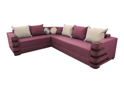 Colțar extensibil roz pastel cu saltea relaxa și accesorii pe brațe - DIAMOND