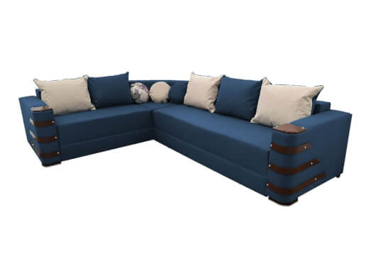 Colțar extensibil albastru închis cu saltea relaxa și accesorii pe brațe - DIAMOND