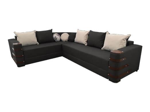 Colțar extensibil negru cu saltea relaxa și accesorii pe brațe - DIAMOND