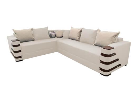 Colțar extensibil alb cu saltea relaxa și accesorii pe brațe - DIAMOND