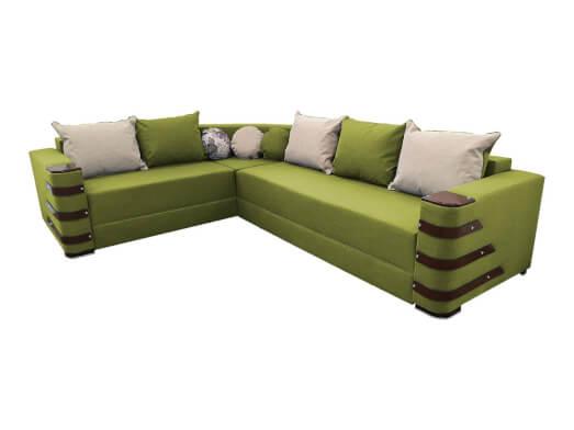 Colțar extensibil verde deschis cu saltea relaxa și accesorii pe brațe - DIAMOND