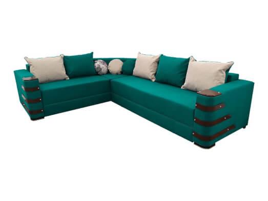Colțar extensibil verde smarald cu saltea relaxa și accesorii pe brațe - DIAMOND