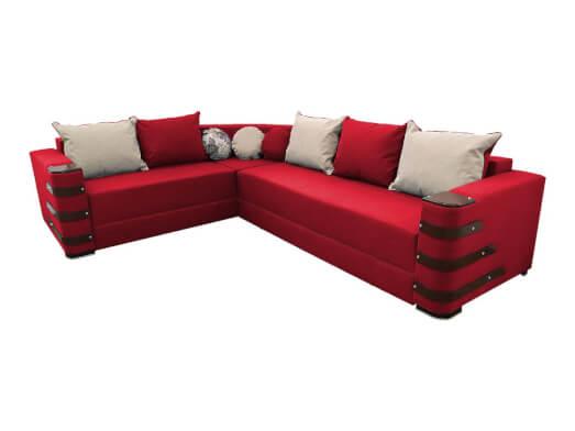 Colțar extensibil roșu cu saltea relaxa și accesorii pe brațe - DIAMOND