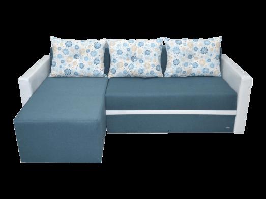 Colțar extensibil stofă și piele ecologică albastru cu alb - model ECO