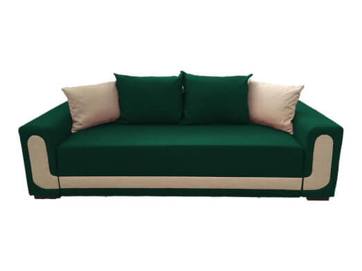 Canapea extensibilă elegantă, verde cu crem, saltea relaxa și ladă depozitare - EVA
