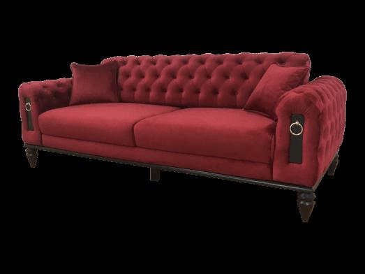 Canapea fixă 3 locuri, bordo - model GLORIA