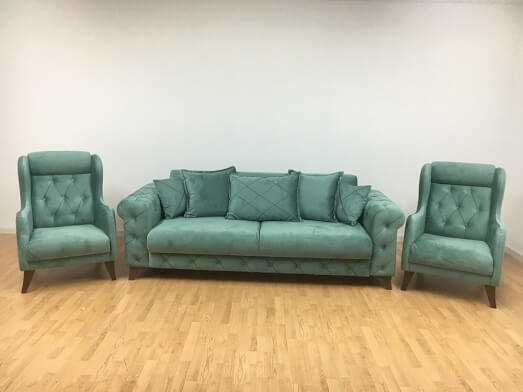 Set canapea extensibilă cu 2 fotolii, verde pastel - model RIVA