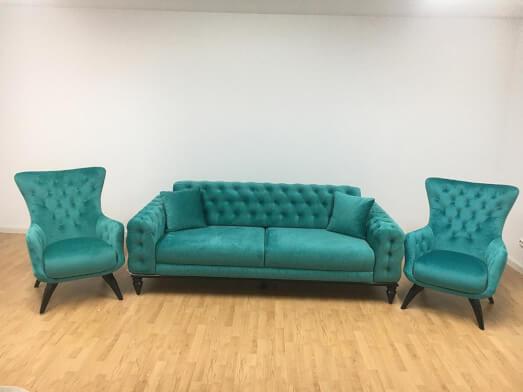 Set canapea 3 locuri cu 2 fotolii, turcoaz - model JASMINE