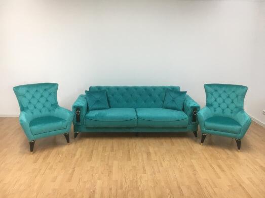 Set canapea 3 locuri cu 2 fotolii, turcoaz - model LIZBON