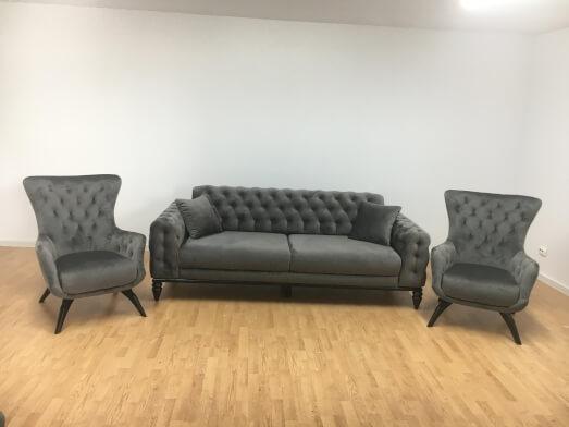 Set canapea 3 locuri cu 2 fotolii, gri - model JASMINE