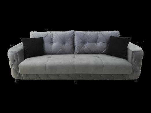 Canapea extensibilă 3 locuri, cusături tip Chesterfield, catifea gri KONFOR