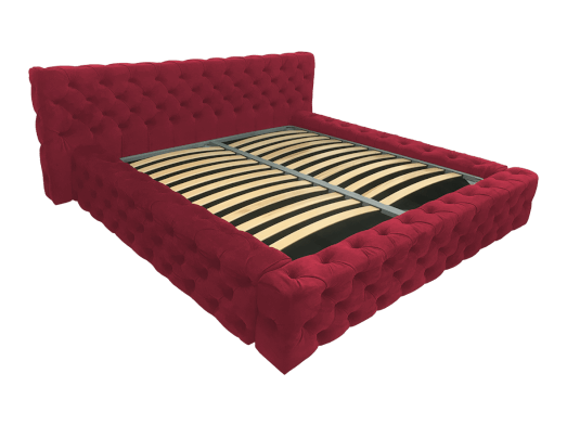 Pat tapițat roșu, cu somieră rabatabilă - model GOLD