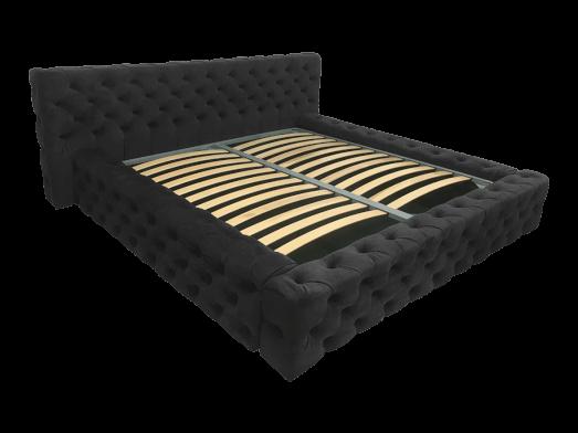Pat tapițat negru, cu somieră rabatabilă - model GOLD