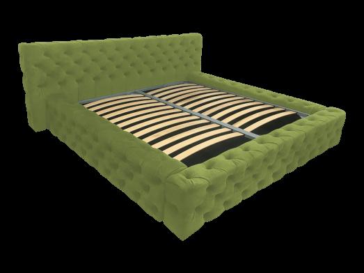 Pat tapițat verde deschis, cu somieră rabatabilă - model GOLD