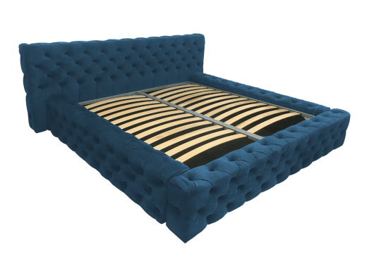 Pat tapițat albastru, cu somieră rabatabilă - model GOLD
