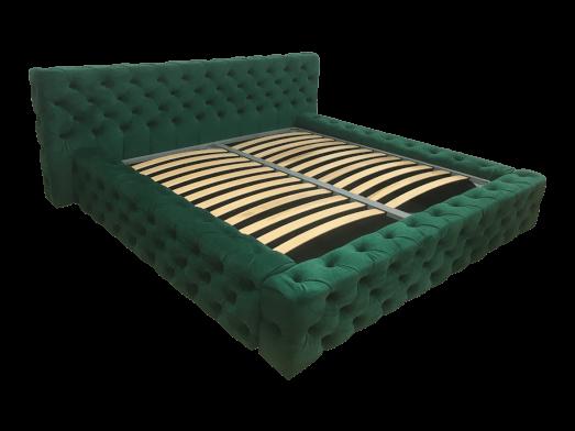 Pat tapițat verde închis, cu somieră rabatabilă - model GOLD