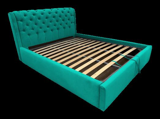 Pat tapițat turquoise cu somieră rabatabilă - model CRYSTAL
