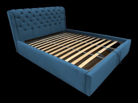Pat tapițat albastru cu somieră rabatabilă - model CRYSTAL