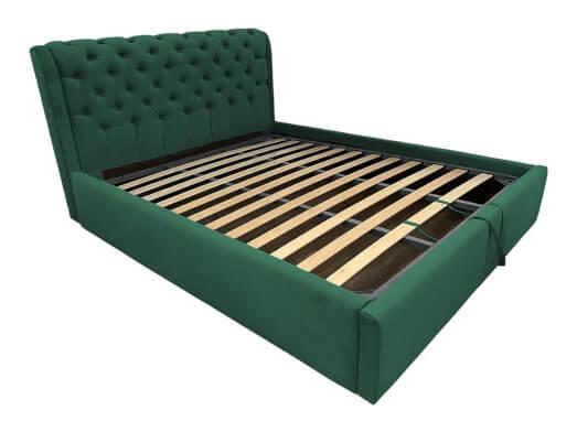 Pat tapițat verde închis, cu somieră rabatabilă - model CRYSTAL