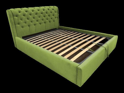 Pat tapițat verde deschis cu somieră rabatabilă - model CRYSTAL
