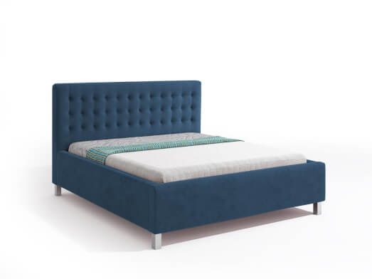 Pat tapițat cu somiera rabatabilă, tapițerie albastră - model IRIS