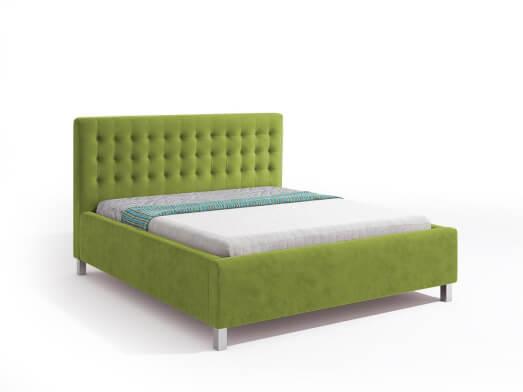 Pat tapițat cu somiera rabatabilă, tapițerie verde deschis - model IRIS