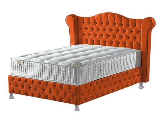 Pat tapițat portocaliu cu somieră rabatabilă - model GLAMOUR