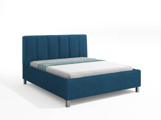 Pat tapițat, albastru - model GRAY