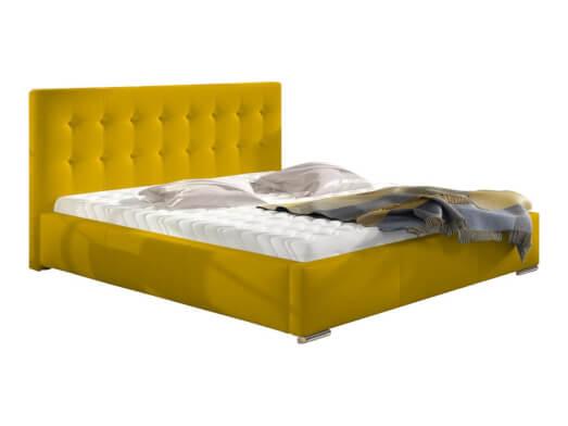 Pat tapițat galben, cu ladă pentru depozitare - model ALISA