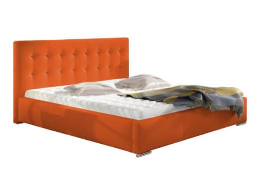 Pat tapițat portocaliu, cu ladă pentru depozitare - model ALISA