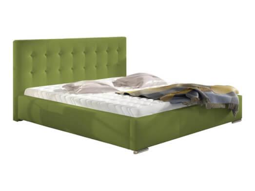 Pat tapițat verde deschis, cu ladă pentru depozitare - model ALISA
