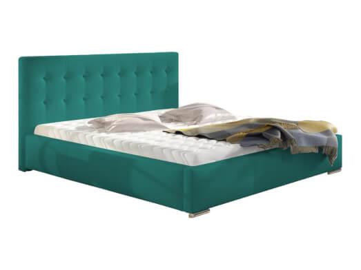 Pat tapițat verde smarald, cu ladă pentru depozitare - model ALISA