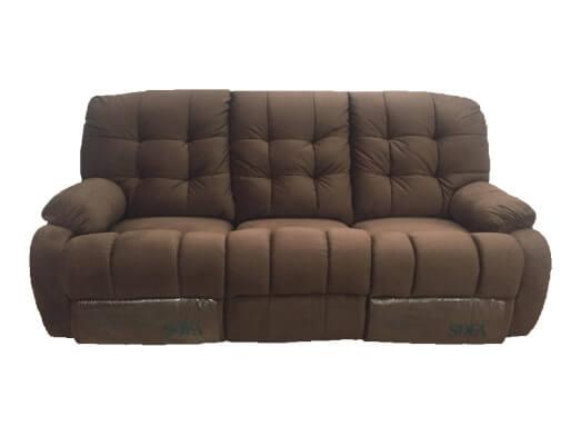 Canapea cu 3 locuri, 2 reclinere manuale, structură lemn masiv, catifea, gri, 205 x 100 x 97 cm