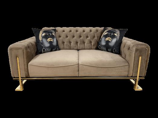 Canapea fixă 2 locuri, maro - model ROLEX