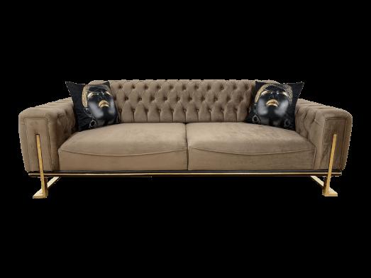 Canapea fixă 3 locuri, maro - model ROLEX