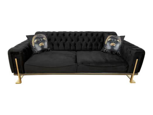 Canapea 3 locuri, neagră - model ROLEX