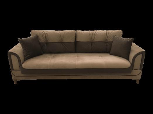 Canapea extensibilă 3 locuri catifea maro, 4 perne incluse - model SAFRAN
