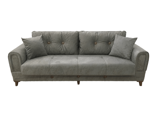 Canapea extensibilă 3 locuri gri colțuri rotunjite - SELVI