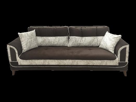 Canapea extensibilă 3 locuri catifea maro alb, 4 perne incluse - SAFRAN