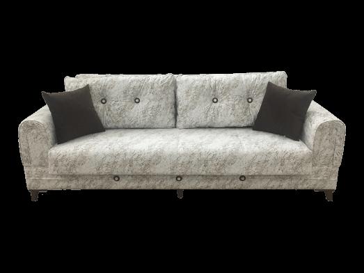 Canapea extensibilă 3 locuri alb gri design modern - SELVI