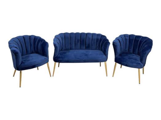 Set canapea cu 2 fotolii, tip scoică, albastru - model DE LUXE